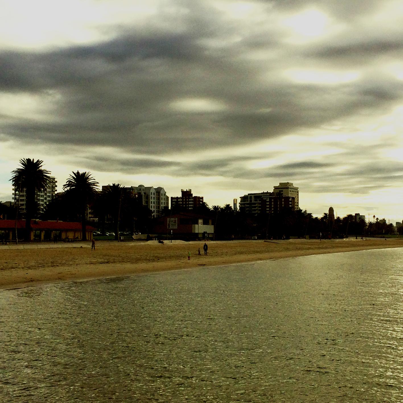 'Sunny' St. Kilda beach earlier today...Brr.