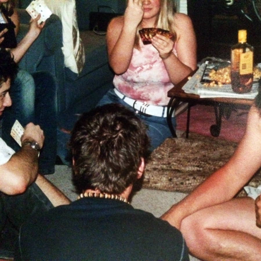 Last night's strip poker, before it got too fleshy.